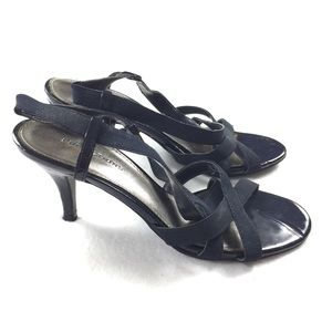 Predictions | Strappy Navy Blue Low Heel Sandals